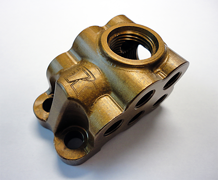 Magnesium fuel-distribution block, finished with an anti-corrosive coating, completed with GibbsCAM